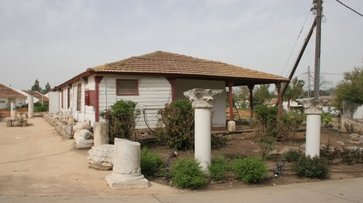 Capitals and pillars at the entrance to Dorot are from a huge Byzantine monastery that stood on a hill only minutes away. (photo: courtesy Shmuel Bar-Am)