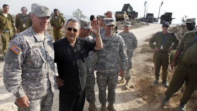 Defense Minister Ehud Barak speaks to US soldiers during a visit to a Patriot anti-missile battery west of Jerusalem, during Austere Challenge 2012, a joint Israeli-hosted exercise, October 23, 2012 (photo credit: Lior Mizrahi/Flash90)