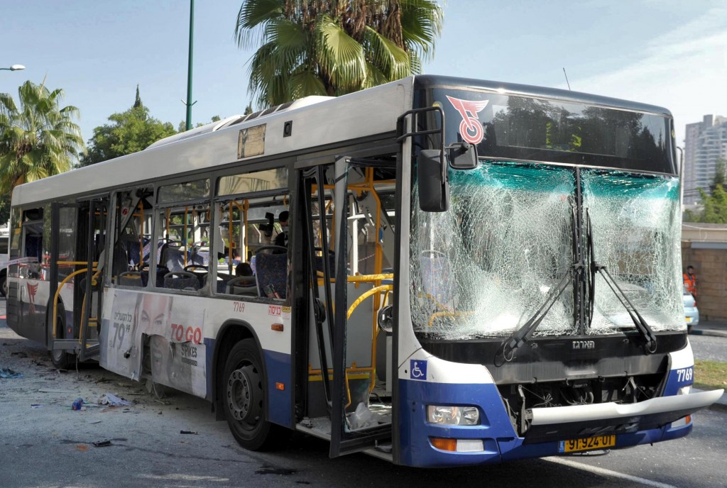 The scene of Wednesday's bus bombing in Tel Aviv (photo credit: Moshe Milner/GPO/Flash90)