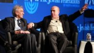 Nobel laureate Elie Wiesel, left, and Jewish Agency Chairman Natan Sharansky at the GA. JTA