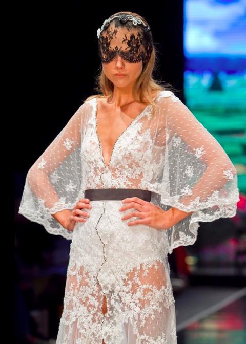 An ethereal gown wrapped in a gray belt by Galit Levi (Courtesy Galit Levi)