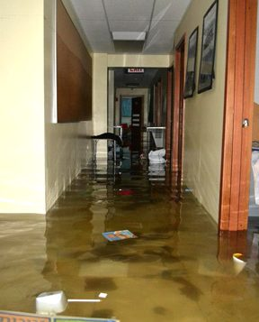 Floodwaters in the halls of Brooklyn's Mazel Day School