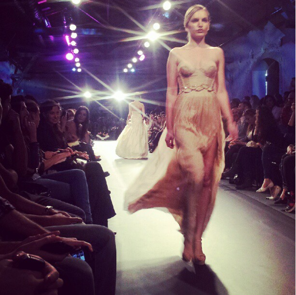 The haute couture look of Morin Woolf's pastel gowns (Courtesy Instagram screengrab)