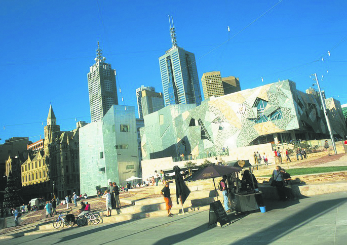 Melbourne's Federation Square, whose architecture has divided locals. Greg Bartley/Tourism Victoria
