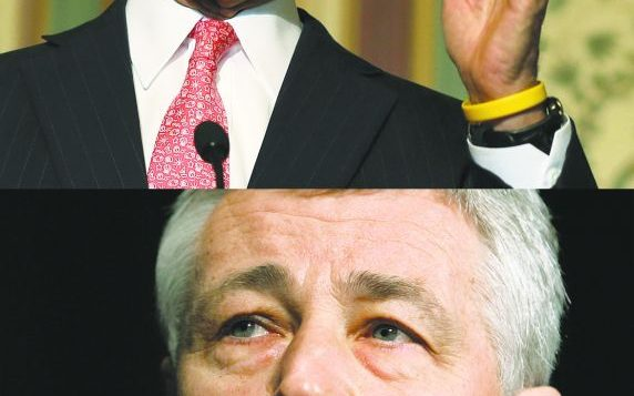 "Sen. John Kerry, top, is seen by observers as a ""safe"" pick for secretary of state, but former Sen. Chuck Hagel bottom."