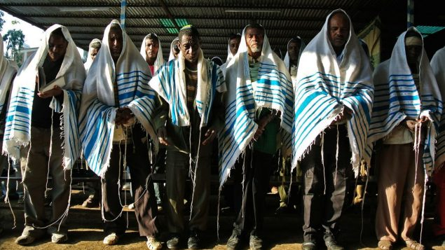 Ethiopian worshippers gather at a makeshift synagogue established by the Jewish Agency in Gondar on Nov. 19. Getty Images