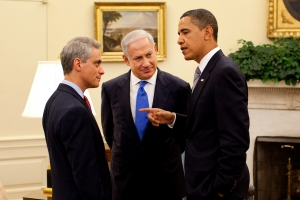 President Barack Obama chats with Netanyahu and Emanuel in 2009. Photo courtesy the White House