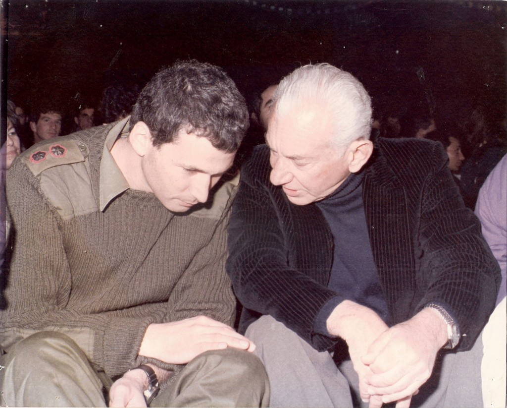 Omer Barlev with his father, former chief of staff Haim Barlev, in the mid-1980s, when Omer commanded the army's elite Sayeret Matkal unit (Courtesy of Omer Barlev)