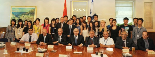 Prime Minister Benjamin Netanyahu meets with a delegation of Chinese students at the PM's office in Jerusalem in July 31(Photo credit: Amos Ben Gershom/GPO/FLASH)