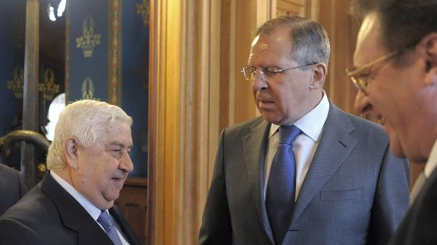 Syrian Foreign Minister Walid Muallem, Russian Foreign Minister Sergey Lavrov, center, and Russian Deputy Foreign Minister Mikhail Bogdanov in Moscow in April 2012 (photo credit: AP)