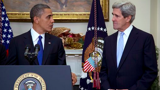 President Barack Obama and Secretary of State John Kerry (photo credit: AP/Carolyn Kaster)