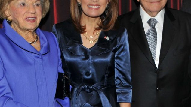 Michele Bachmann, center, with Jean and Eugen Gluck at the Bet El dinner. (Photo by Tim Boxer)