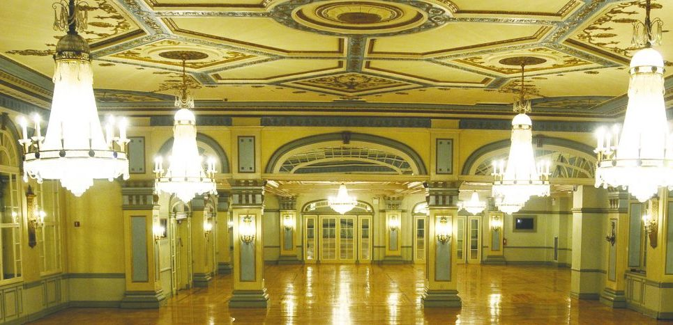 The ballroom of the old Brooklyn Jewish Center, now a Chabad-Lubavitch yeshiva. micHAel datikash