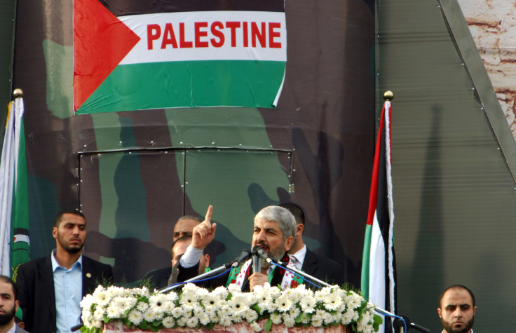 Hamas leader Khaled Mashaal delivers a speech during a rally to mark the 25th anniversary of the founding of the Islamist movement, in Gaza City on Saturday, December 8 (photo credit: Abed Rahim Khatib/Flash90)