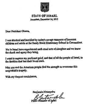 The letter from Prime Minister Benjamin Netanyahu to US President Barack Obama.