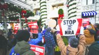Gun control supporters protesting last month outside the National Rifle Association office on Capitol Hill in Washington.