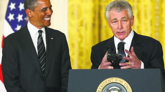 Former Sen. Chuck Hagel, right, with President Obama, has been criticized for not being pro-Israel enough. getty images