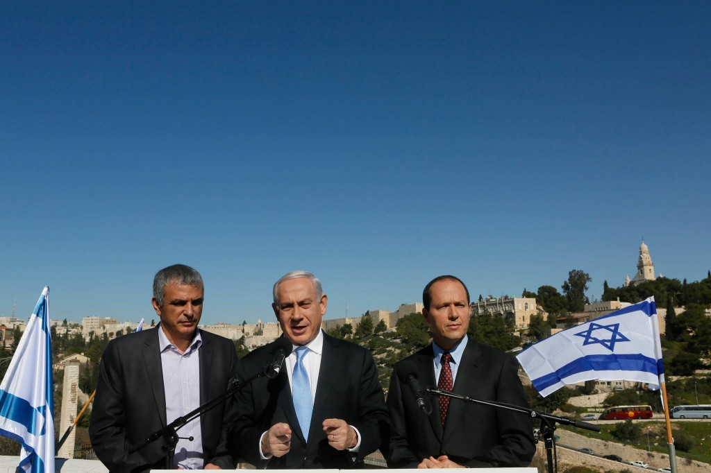 Prime Minister Benjamin Netanyahu (center) flanked by Communications Minister Moshe Kahlon (left) and Jerusalem Mayor Nir Barkat at the Menachem Begin Heritage Center. (photo courtesy of Benjamin Netanyahu's Facebook page)