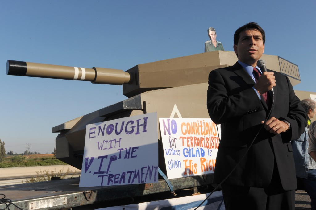 Danny Danon speaks at a rally in 2010. Once a back-bencher, Danon is now ninth on the Likud list, putting him within reach of a Cabinet post (Photo by Gili Yaari/Flash90)