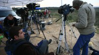 Journalists for al-Arabiya on the border of the Gaza Strip (illustrative photo credit: Nati Shohat/Flash90)