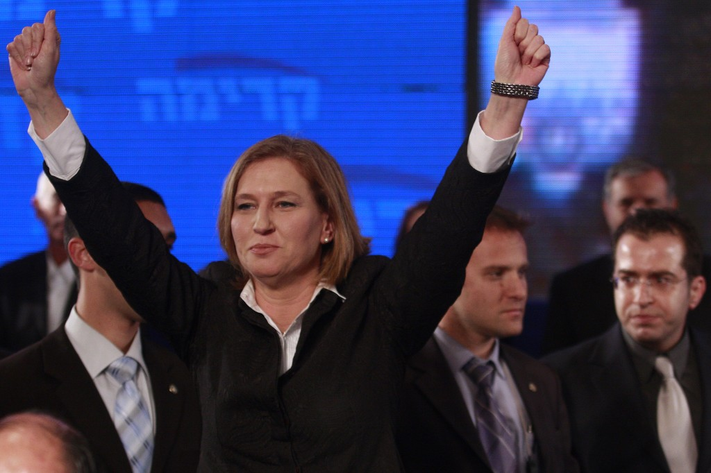 Then-foreign minister and Kadima leader Tzipi Livni declares victory on the night of February 10, 2009, thinking she had become prime minister. She hadn't. (photo credit: Olivier Fitoussi /Flash90)