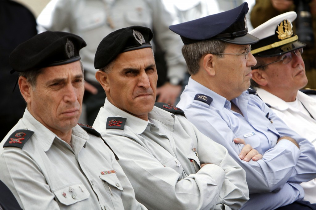 Major General Sami Turgeman, second from left, in 2011 (photo credit: Miriam Alster/Flash90)