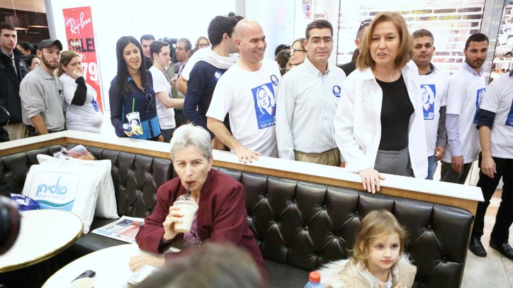 Hatnua leader Tzipi Livni at Tel Aviv's Azrieli Mall, a day before the general elections, on January 21, 2013. (photo credit: Flash90)