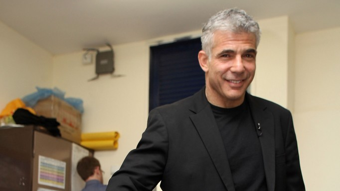 Yair Lapid on Election Day (photo credit: Gideon Markowicz/Flash90)