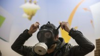 Cause for concern?  The recent tension along the northern border has caused a spike in demand for gas masks (photo credit: Yonatan Sindel/Flash90)