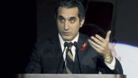 Egyptian TV host Bassem Youssef addresses attendants at a gala dinner party in Cairo, Egypt on December 8, 2012 (photo credit: AP/Ahmed Omar)