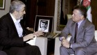 Jordan&#039;s King Abdullah II, right, meets with Hamas leader Khaled Mashaal, in Amman, Jordan, Monday, January 28, 2013 (photo credit: AP/Raad Adayleh)