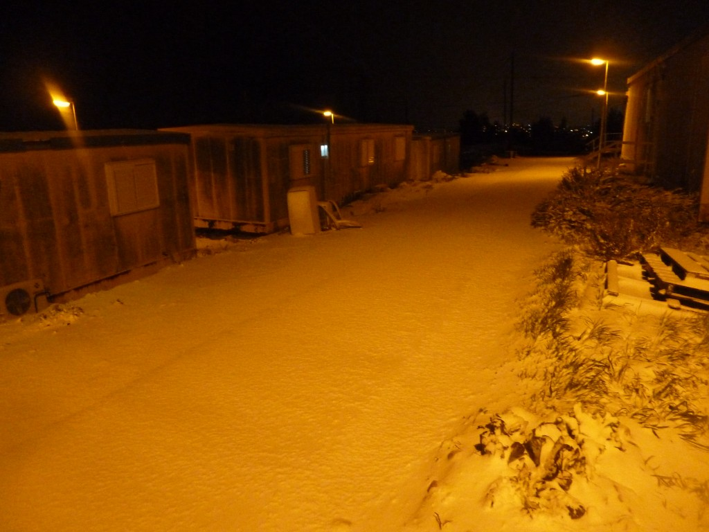 Snow in Psagot on Wednesday night (photo courtesy of Ester Granovsky)
