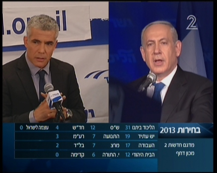 Yair Lapid and Benjamin Netanyahu simultaneously address their separate party gatherings soon after midnight following Tuesday's elections (photo credit: Channel 2 screenshot)