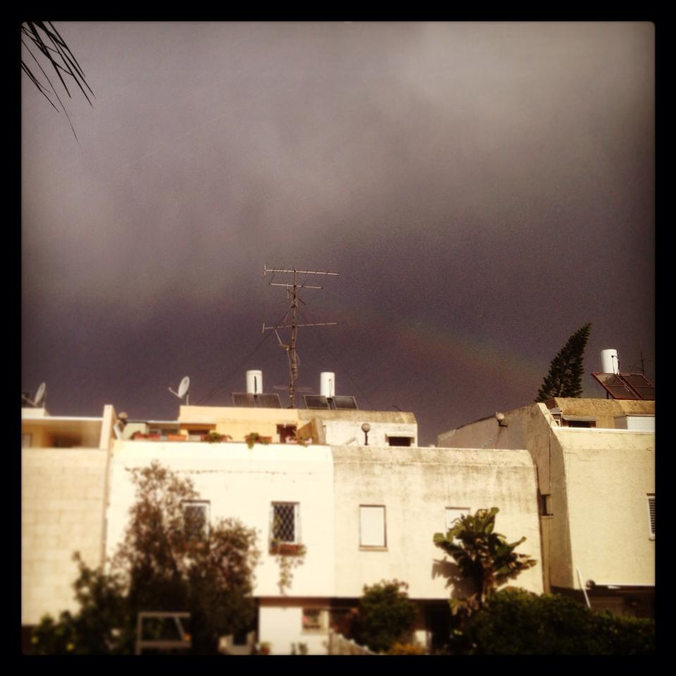 A rainbow amid a cloudy sky in Jerusalem (photo credit: Dorit Gavriel)
