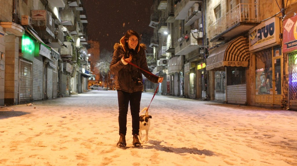 A woman walks her dog on a snow covered street in Jerusalem on Wednesday (photo credit: Nati Shohat/Flash90)