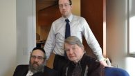 Sam Kellner, left, with his attorney, Michael Dowd (seated), and Dowd¹s associate, Niall MacGiollabhui. Hella Winston