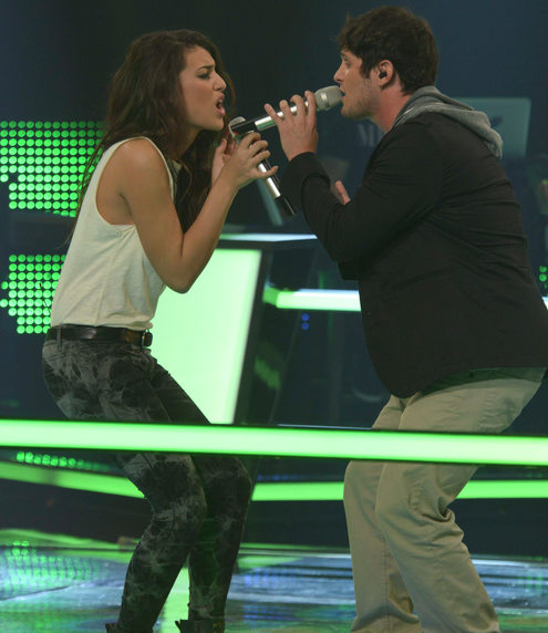 Michael Jade and Manar Shahav battling it out on 'The Voice' (Courtesy 'The Voice' Facebook page)