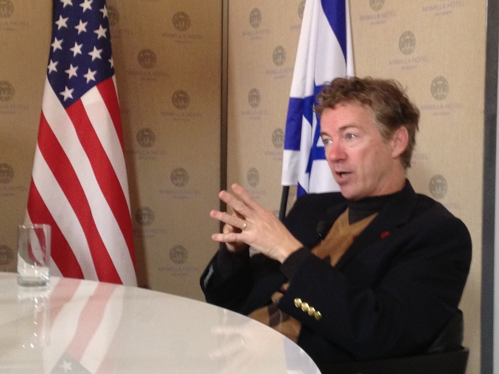 Sen. Rand Paul in Jerusalem, January 12, 2013 (photo credit: Raphael Ahren/Times of Israel)