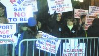 Pro-Israel students protest the Feb. 7 BDS event at Brooklyn College.