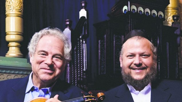 Violin superstar Itzhak Perlman, left, pitched a collaboration with Cantor Yitzchak Meir Helfgot. JTA