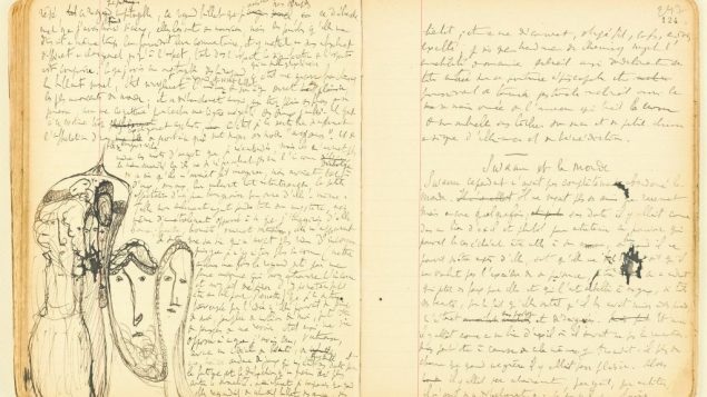 Pages from one of Proust's notebooks on display at Morgan show. BnF, Dist. RMN-Grand Palais/Art Resource, NY