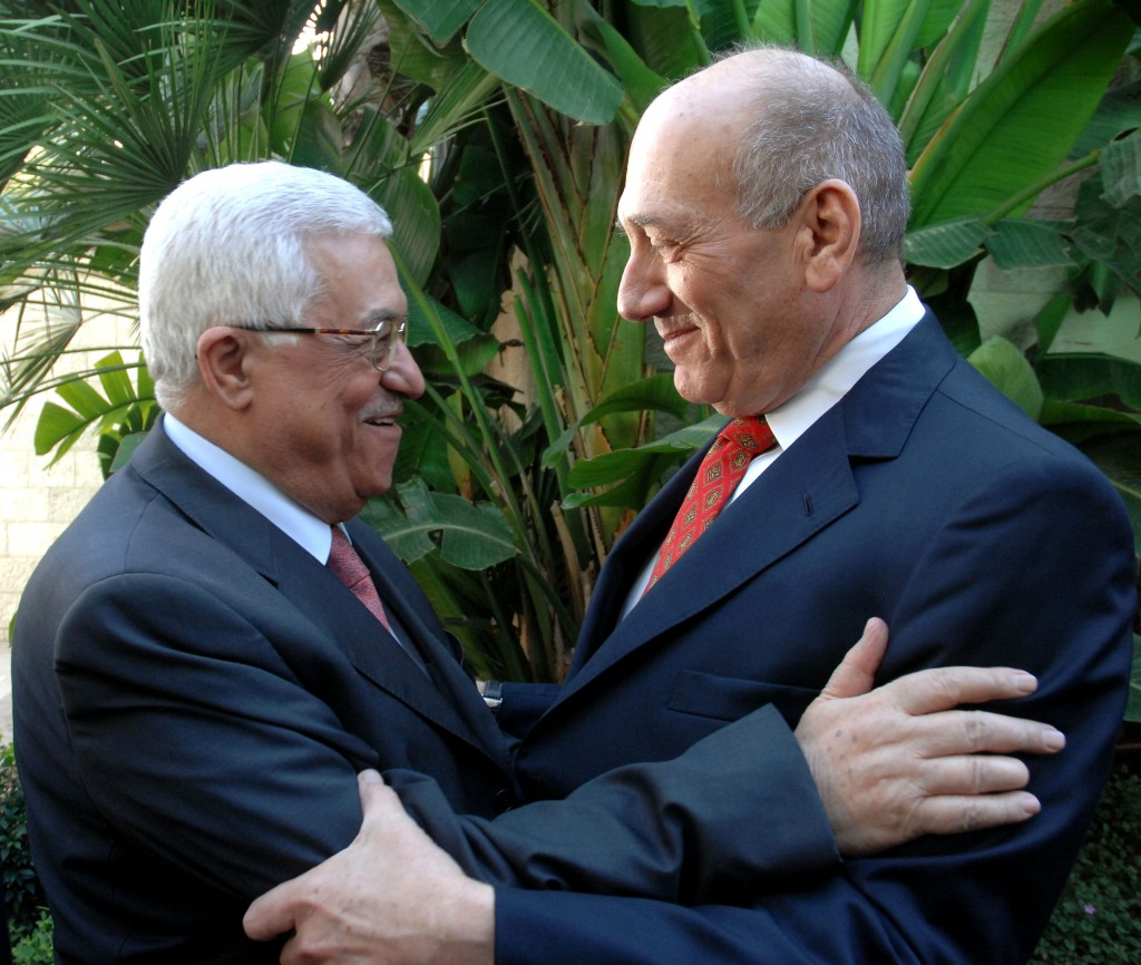 Former PM Ehud Olmert meets with Palestinian Authority President Mahmoud Abbas in Jerusalem, November 2008. (photo credit: Moshe Milner GPO/Flash90_