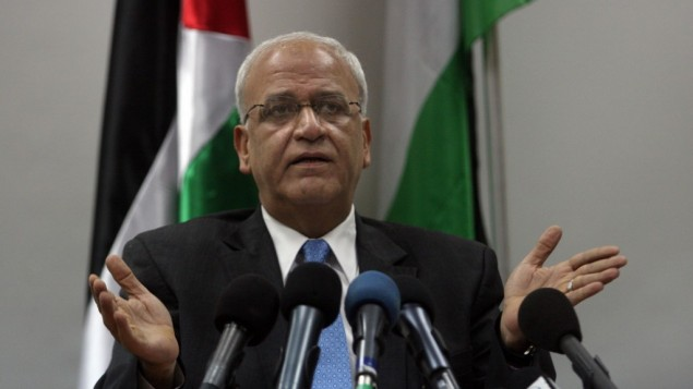 Saeb Erekat, chief Palestinian negotiator,during a news conference in Ramallah on the West Bank on January 2, 2012 (photo credit: Issam Rimawi/ FLASH90)