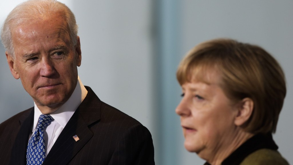 US Vice President Joe Biden, left, meets the press with German Chancellor Angela Merkel in Berlin, Germany, on Friday (photo credit: AP/Markus Schreiber)