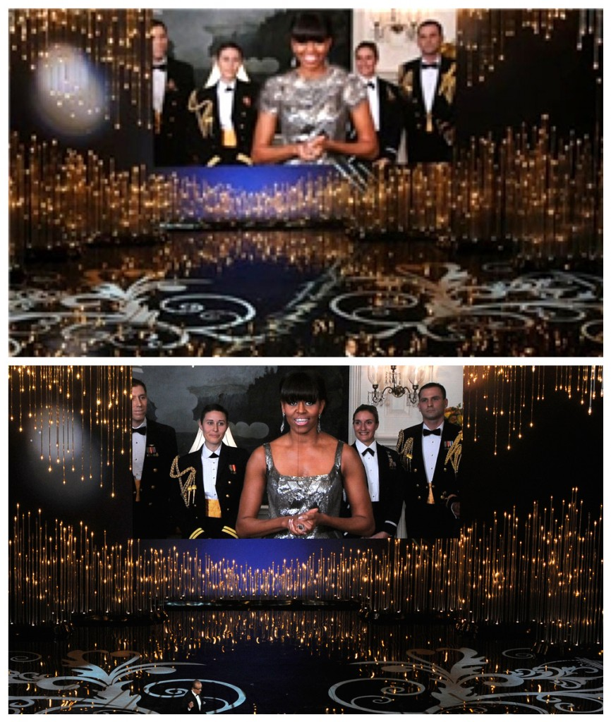 FILE - In this combination of photos made on Sunday, Feb. 24, 2013, first lady Michelle Obama, appearing via video link, and actor Jack Nicholson present the award for best picture during the Oscars ceremony at the Dolby Theatre in Los Angeles. As seen in the bottom photo, the first lady wore a sleeveless, scoop neck gown for the occasion. The photo on top is an altered version that Iran's semi-official Fars news agency ran on their website, with her shoulders and neckline covered with added material to make her gown look less revealing. [(photo credit: AP/Invision (below), Fars (above)]