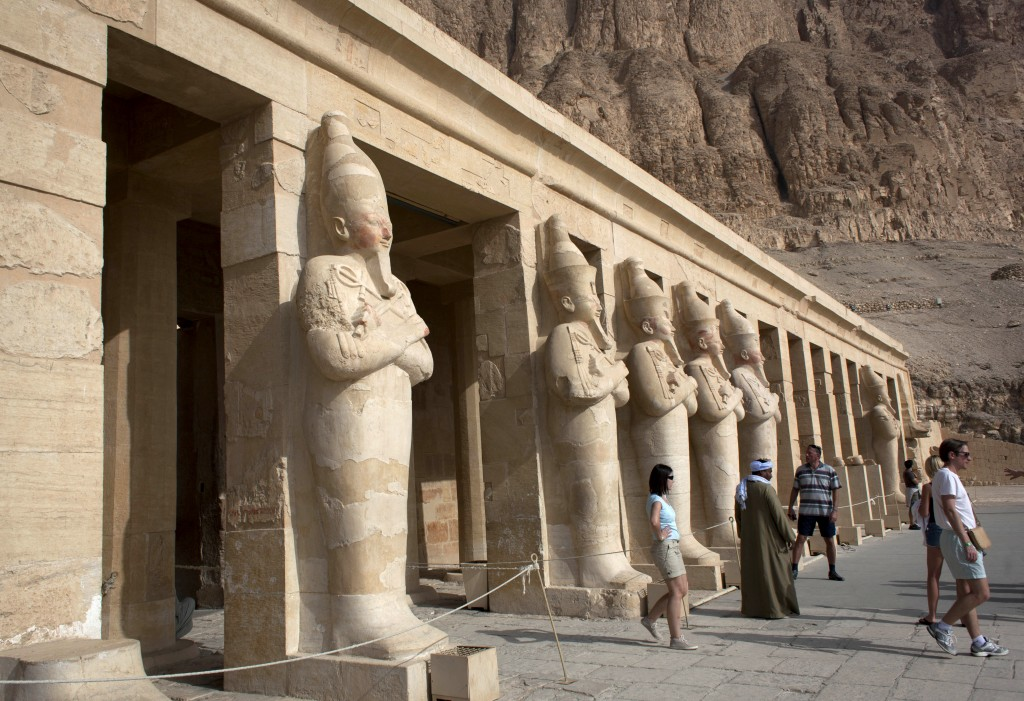 Foreign tourists visit the Hatshepsut Temple, in Luxor, Egypt on Wednesday.(photo credit: AP/Nasser Nasser)