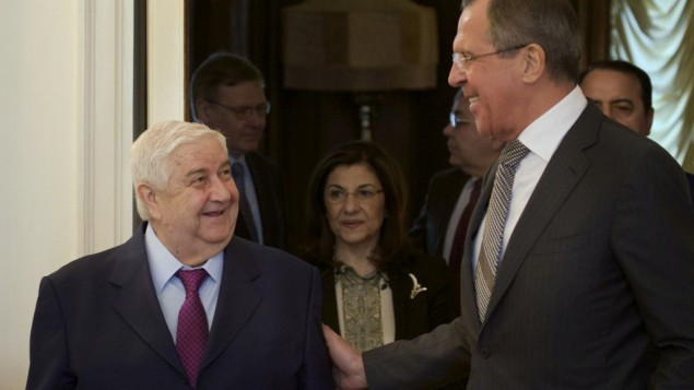 Russian Foreign Minister Sergey Lavrov, right, welcomes Syrian Foreign Minister Walid al-Moallem, left, in Moscow, Monday, Feb. 25, 2013 (photo credit: AP/Ivan Sekretarev)