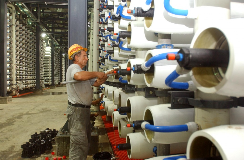 Israel's desalination plant on the Mediterranean Sea at Ashkelon (Photo credit: Edi Israel /Flash90)