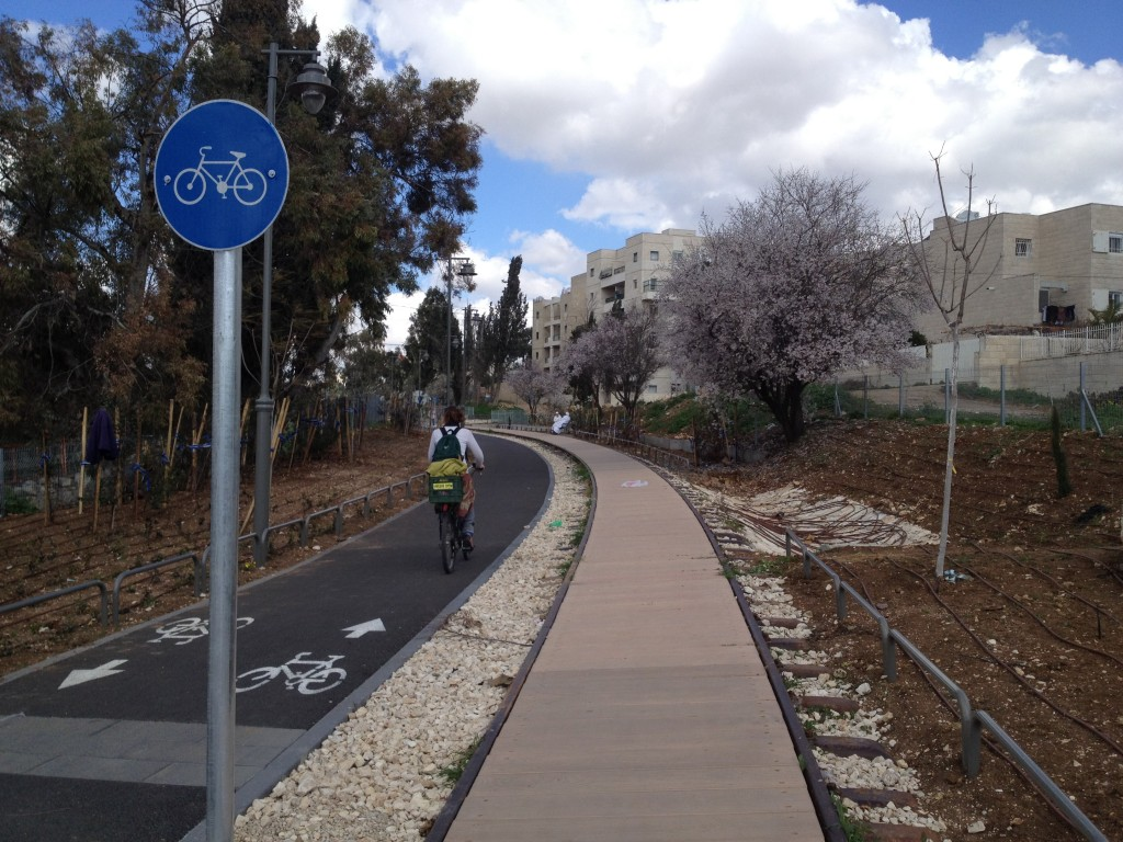 Running along a defunct train track, a new bike path links an old British Mandate train station to the city's main shopping mall via residential neighborhoods, an industrial zone and an Arab village (Photo credit: Matti Friedman/Times of Israel)