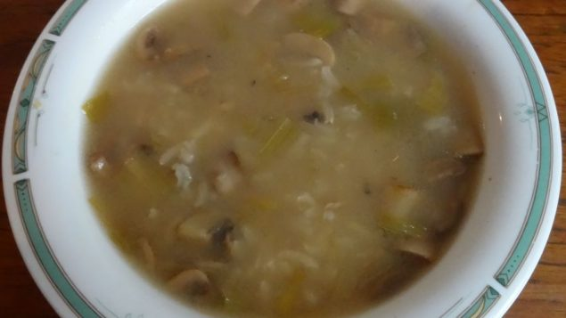Mushroom, leek and rice soup is a great appetizer or main course. Amy Spiro